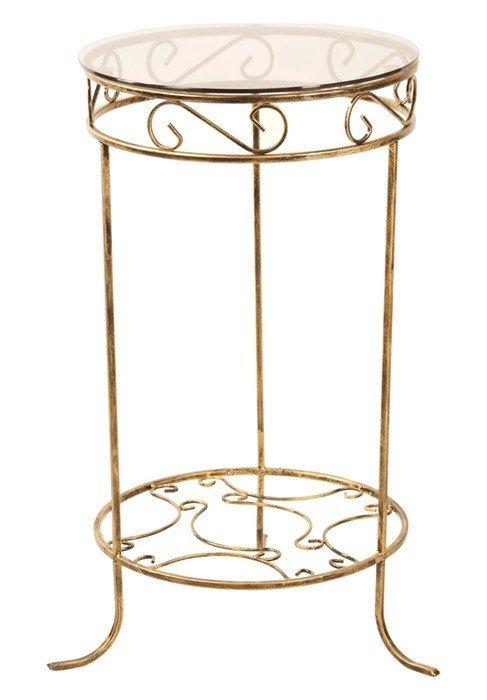 Stolik  metalowy - Szklany blat - Sklep
