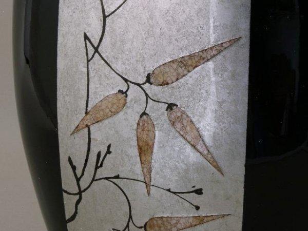 Wazon ceramiczny - Srebrno-czarna Azja - 32x18,5x50cm