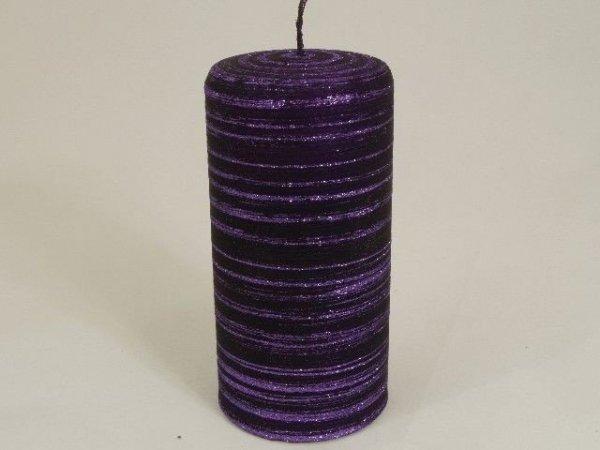 Świeca ozdobna - Fiolet - Velvet - 7x15cm