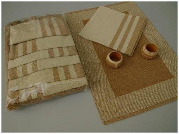 Podkładki na stół + Serwetki + Obrączki na serwetki x 6-szt - Brąz
