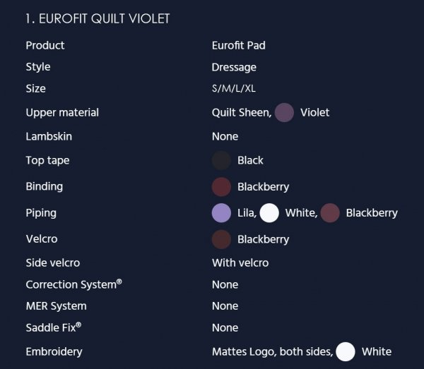 MATTES EUROFIT QUILT SHEEN Czaprak profilowany ujeżdżeniowy/ dresażowy