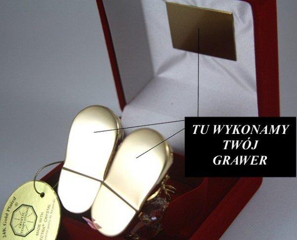 Buciki Swarovski Różowe Etui +GRAWER Chrzest Niskie