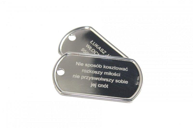 Nieśmiertelniki Srebro 925 L3+GRAWER Zdjecie Tekst