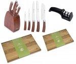 Noże Gerlach 979 COLONIAL | zestaw 5 noży w bloku | ostrzałka Gerlach dwufazowa + Deska NATUR 30x24 i 45x30 cm