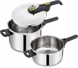 Zestaw: Szybkowar P25443 41 Tefal 4 L i 6 L Secure 5 NEO | ZIELONY Z KOSZYK do gotowania na parze
