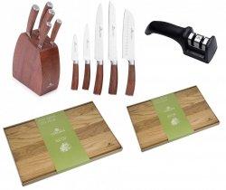 Noże Gerlach 979 COLONIAL   zestaw 5 noży w bloku   ostrzałka Gerlach dwufazowa + Deska NATUR 30x24 i 45x30 cm