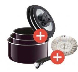 Zestaw Tefal Ingenio So Intensive 4 PCS (Symbol: L61395 02) + pokrywy szklane Tefal (Symbol: L99310) + koszyk do gotowania na parze