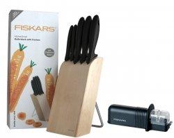 Zestaw 5 noży w bloku Fiskars 1004931 + ostrzałka Fiskars