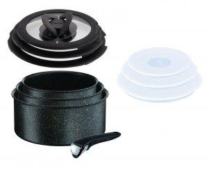 Garnki Tefal L67190 Ingenio Authentic FORCE 16/18/20 cm + rączka + Pokrywy szklane i plastikowe 16/18/20 cm