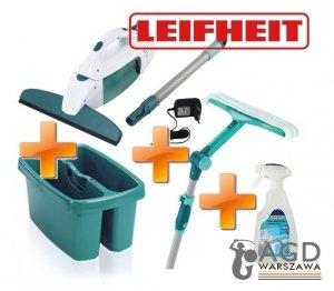 Zestaw myjka Leifheit: : ściągaczka elektryczna wraz z drążkiem o długości 43 cm 51001/52001/51120/41409