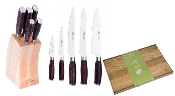Noże Gerlach 991 Deco Wood + Deska Gerlach Natur 45x30 cm