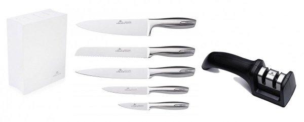 Noże Gerlach 993 Modern zestaw noży + blok * biały * + Ostrzałka Gerlach NK 606