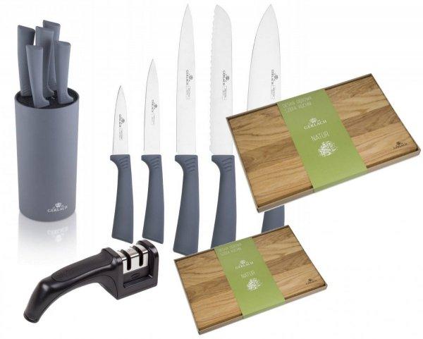 Noże Gerlach 994 Smart GREY | 5x Nóż + Blok | Ostrzałka Gerlach | Deska 30x24 i 45x30 cm