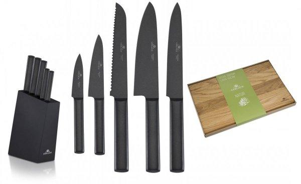 Noże Gerlach 984 Ambiente BLACK 5x Nóż + blok   Deska Gerlach Natur 45x30 cm