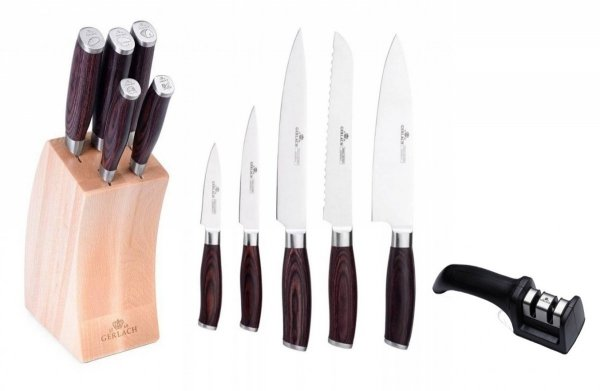Noże Gerlach 991 Deco Wood zestaw noży + blok + Ostrzałka Gerlach NK 606
