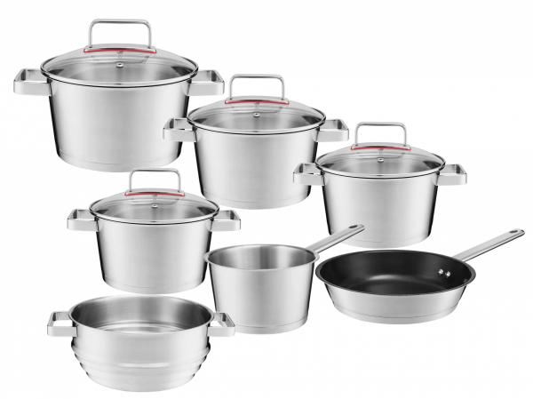 Zestaw garnków Ambition Selection + pokrywy + patelnia 24cm + wkład do gotowania na parze | 31029/31030/31031/31032/31033/31034/31035 | 11PCS