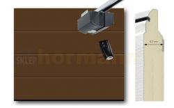 Brama automatyczna ISOMATIC 42 mm, 2500 x 2125, Przetłoczenia L, Woodgrain, brąz RAL 8028, z napędem elektrycznym