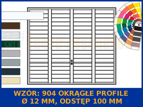 Wzór 904 Okrągłe profile Ø 12 mm, Odstęp 100 mm