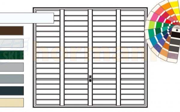 Brama uchylna N 80, 2625 x 2125, Wzór 904 Okrągłe profile Ø 12 mm, Odstęp 100 mm, kolor do wyboru