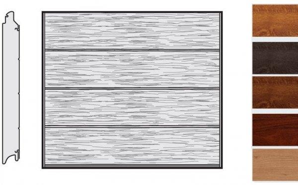 Brama LPU 42, 2375 x 2125, Przetłoczenia L, Decograin, okleina drewnopodobna