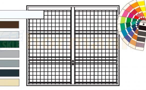 Brama uchylna N 80, 2625 x 2125, Wzór 903 spawana krata 100 x 100 x 5 mm, kolor do wyboru