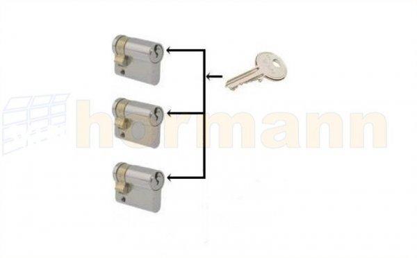 Zestaw trzech wkładek patentowych jednostronnych z jednakowym wzorem klucza