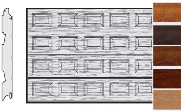Brama LPU 42, 5000 x 2375, Kasetony S, Decograin, okleina drewnopodobna