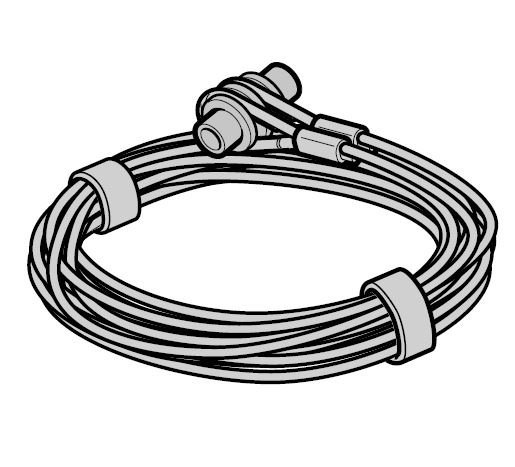 Lina stalowa Ø 3 mm z mocowaniem, prowadzenie Z, komplet do każdej bramy, L = 2490, wysokość bramy do 2000