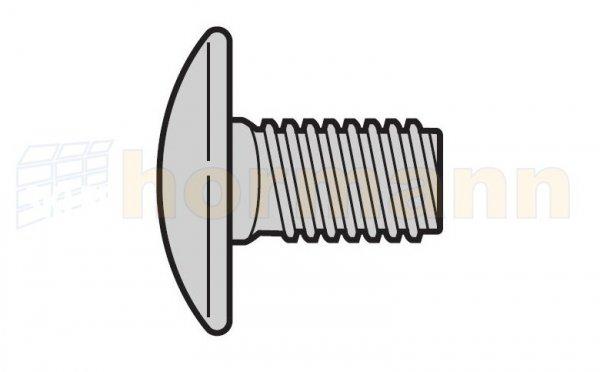 Śruba z łbem płaskim okrągłym z gwintem na całej długości M8 × 16, ocynkowana