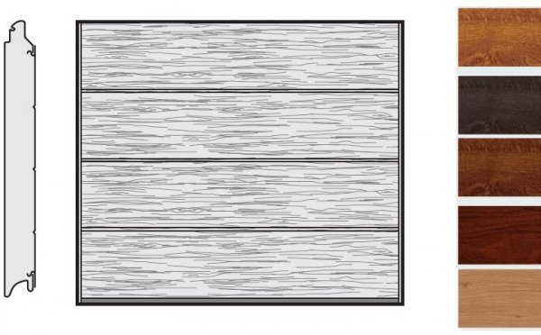 Brama LPU 42, 2440 x 1955, Przetłoczenia L, Decograin, okleina drewnopodobna