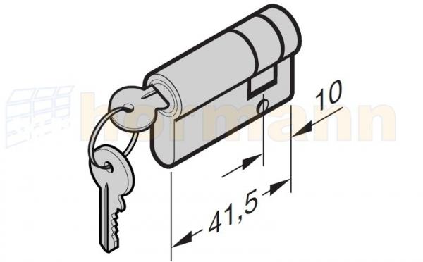 Jednostronna wkładka patentowa N 80 / F 80 / EcoStar / brama z drzwiami przejściowymi z 2 kluczami wg DIN 18252 / 18254 31,5 + 10 mm