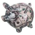 Skarbonka ceramiczna świnka w dolary.Rozmiar 9x7 cm.Skarbonki pakowane wjednostkowe opakowania ozdobne.