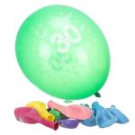 Komplet 10 balonów z napisem '30 Happy Birthday'. Różne kolory.