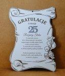 Podziękowania Dyplom drewniany grawerowany, 25 Rocznica Ślubu, 27x20x0,3cm
