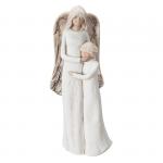 Figura gipsowa 'Anioł z dzieckiem'. Kolor anioła ecru, skrzydła beż. Rozmiar 10x30 cm