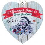 Drewniana tabliczka w kształcie serce z napisem 'Wesołych Świąt'. Wzór 32. Rozmiar 15cm