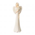 Anioł z wachlarzem. Materiał gips, kolor anioła biały. Wysokość 38.5 cm