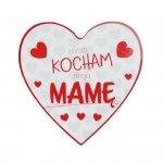 Drewniana tabliczka w kształcie serca Bardzo Kocham moją Mamę