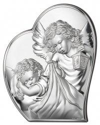 Obrazek Aniołek w sercu z modlitwą 12x14,6 cm