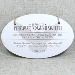 Drewniana tabliczka Pamiątka 1 Komunii Świętej