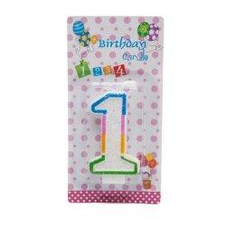 Świeczka cyferka urodzinowa z brokatem 1
