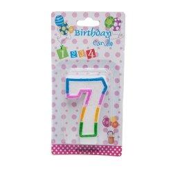 Świeczka cyferka urodzinowa z brokatem 7