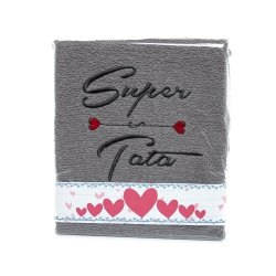 Ręcznik haftowany SUPER TATA , kolor SZARY