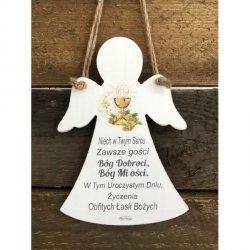 Tabliczka drewniana Anioł na Pamiątkę I Komunii Świętej