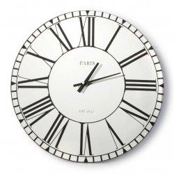 Zegar szklany okrągły 38x4cm lustro RZYMSKIE CYFRY