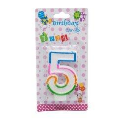 Świeczka cyferka urodzinowa z brokatem 5