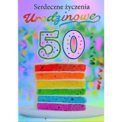 Karnet Silver serdeczne życzenia urodzinowe 50