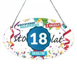 Drewniana tabliczka w kształcie owalu druk UV z napisem Wszystkiego najlepszego z okazji 18 lat