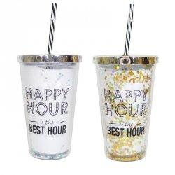 Kubek z pokrywką i słomką, Happy Hour, dwa kolory