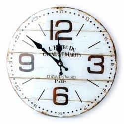 Zegar szklany okrągły 30x4cm L'HOTEL DU tarcza biała